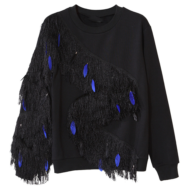 Fashion Pretty Sweaters 2017 New Spring Pullovers Casual Full Sleeve Black Feather Tassel Sweater