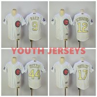 MLB REAL PHOTO Chicago Cubs Gold World Series Champions Youth Kids Jersey