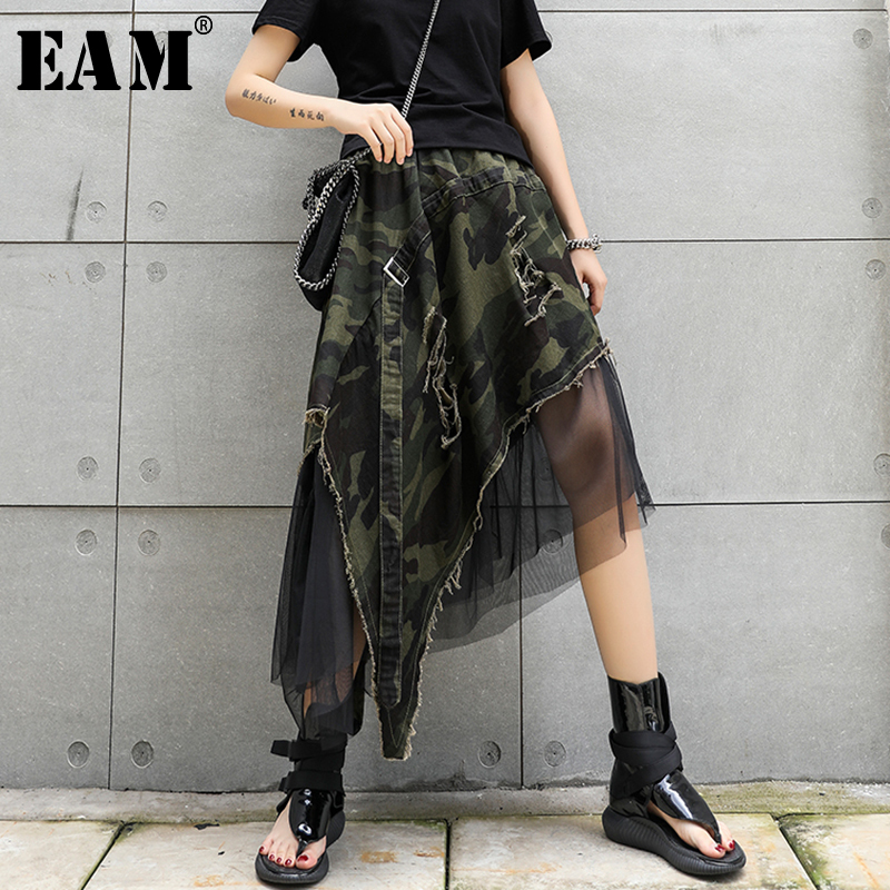 [EAM] 2020 New Spring Summer High Elastic Waist Camouflage Irregular Mesh Personality Half-body Skirt Women Fashion Tide JW294