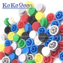 1000 adet/grup Yuvarlak Anahtarı Düğmesi Kapağı A24 ile Kullanılabilir 12*12*7.3 Anahtar (7 Renk)