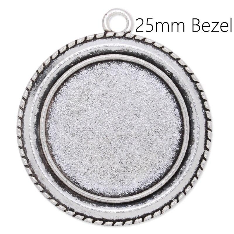 20Pcs 25MM Round Flowery Bezel Cameo Cabochon Zinc Alloy Pendant Tray Blank Base