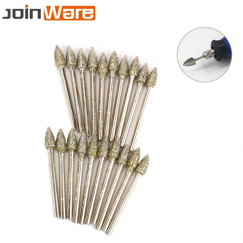 20Pcs 3MM Shank Cone Shape Diamond Coated Grinding Head Drill Engraving Abrasive Burrs Rotary Tools 5MM Head Dia 45MM Length 46#