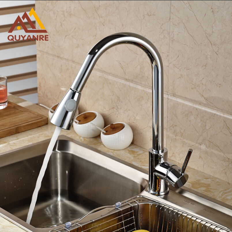 Polished Chrome Kitchen Faucet Single Handle Brass Pull Out Dual Sprayer Nozzle Kitchen Sink Taps