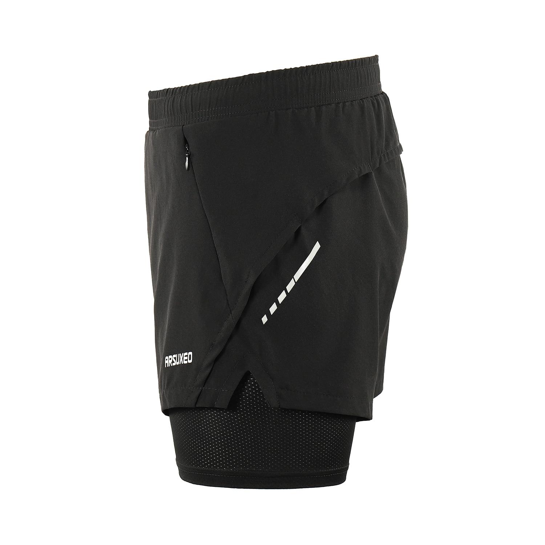 bolsillo con cremallera 2 en 1 ARSUXEO B202 transpirables Pantalones cortos de running para hombre