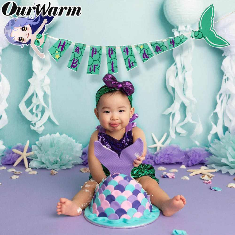 OurWarm 1Set Happy Birthday Banner Mermaid Paper Garland Summer Sea Party Hanging Bunting Flag Under the Sea Party Decorations