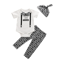 3pcs Set Baby Newborn Kids Clothes Set Short Sleeve Top Romper Bodysuit Pants Legging Hat Beanie