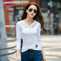 White New 2017 T-Shirts Women's Spring Autumn Long-Sleeved T-shirt Women's Clothing Lace Korean Style Tee Shirt Tops Plus Size
