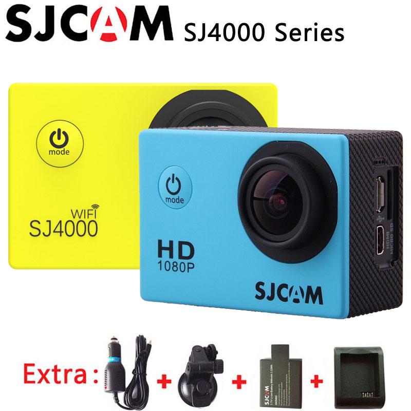 Prix pour SJCAM SJ4000 Série SJ4000 \ SJ4000 WIFI Sport Action Caméra 1080 P HD Étanche DV + Chargeur De Voiture + Support + supplémentaire 1 pcsbattery + Chargeur