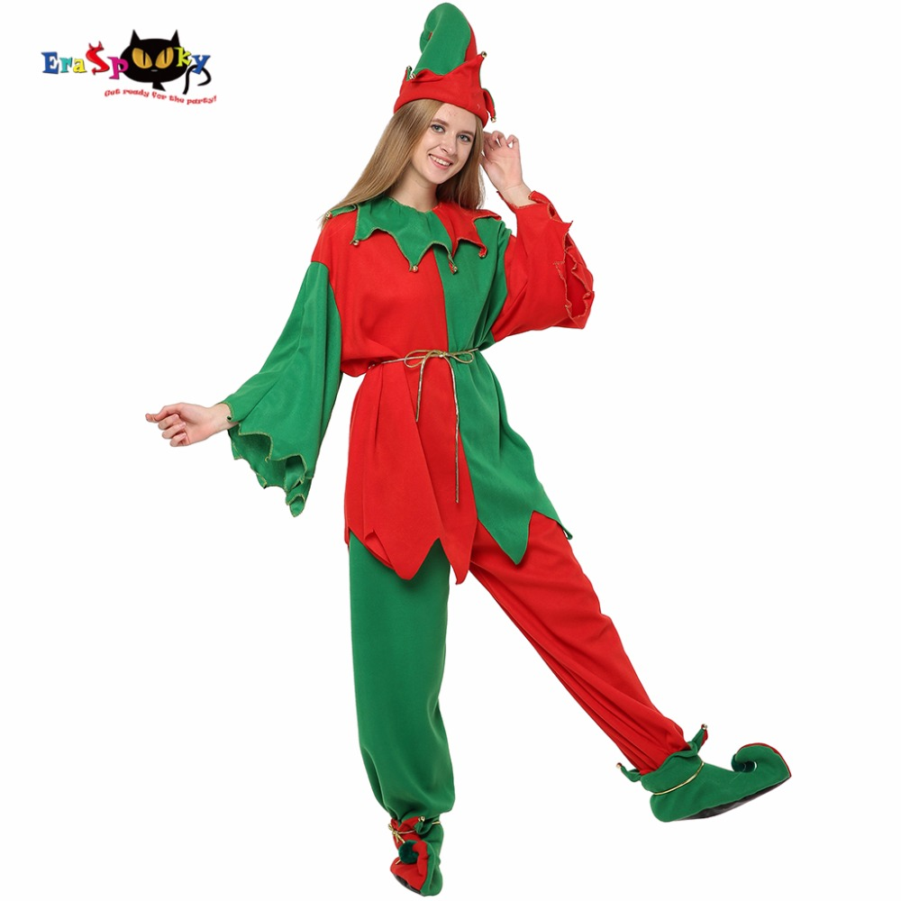 Eraspooky Green Christmas elf costume women santa claus suit Christmas Costume adult Carnival party couple cosplay Hat