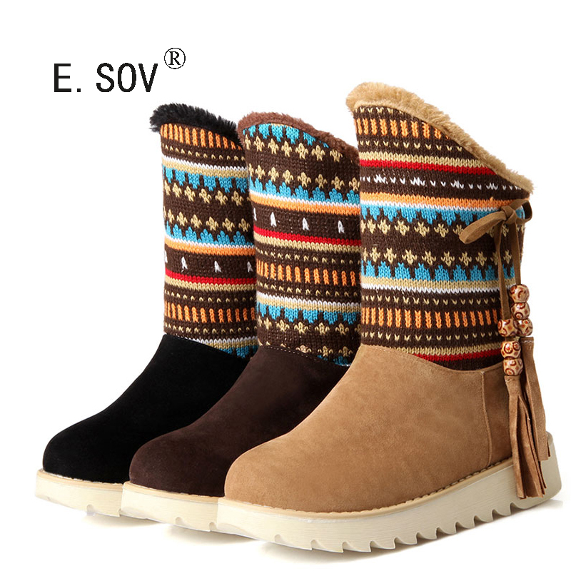 ФОТО E.SOV 2017 new Snow Boots platform women winter shoes waterproof ankle boots lace up fur boots brown black short boots big size