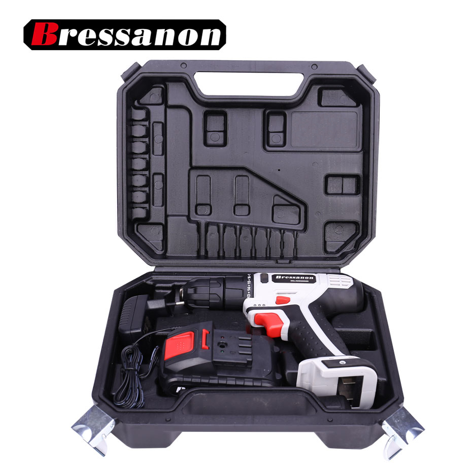 Bressanon 18V Li Ion Electric Double Speed DC Drill Lithium Cordless Drill Screwdriver Household Power Tools