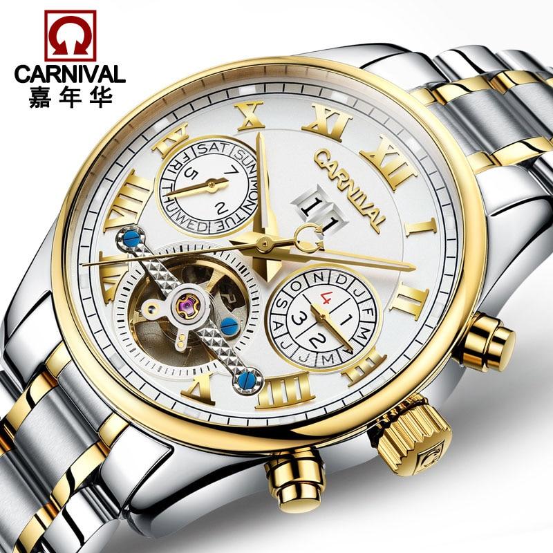 цена на New Luxury Watch Top brand CARNIVAL Tourbillon Auto mechanical Watches Men Watch Sapphire Luminous Calendar Waterproof business