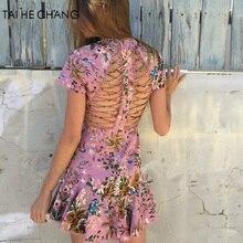 2018 женщин high-end Новые модные элегантные vestidos bodycon Тонкий пляжные для подиума летние пикантные выдалбливают Мини Русалка платье