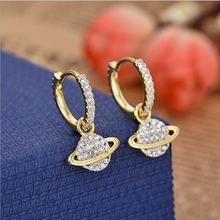 yellow gold color cute Saturn dangle long earring for girl women 2018 new round circle elegant charming fashion jewelry design