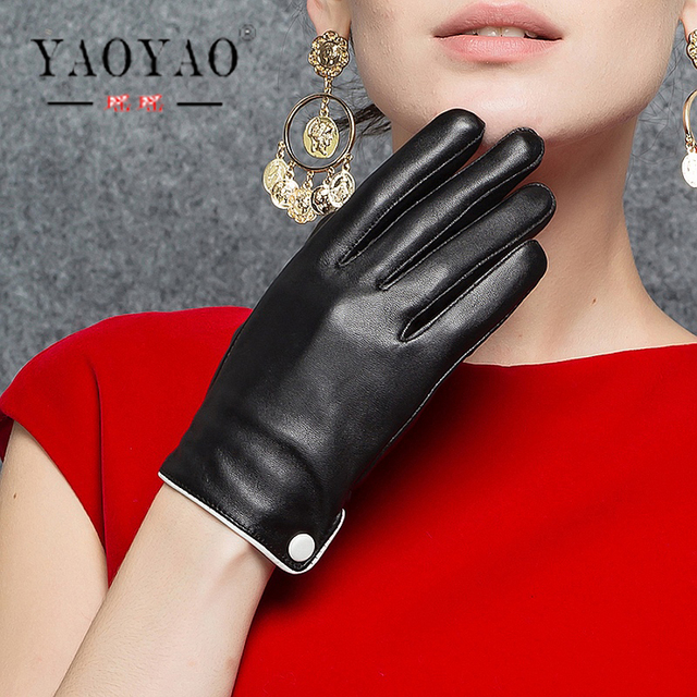 faa21139fc1df YY8748 Women Genuine Leather White Button Black Thin Full Finger Gloves  Female Short Design Outdoor Driving Riding Party Luvas