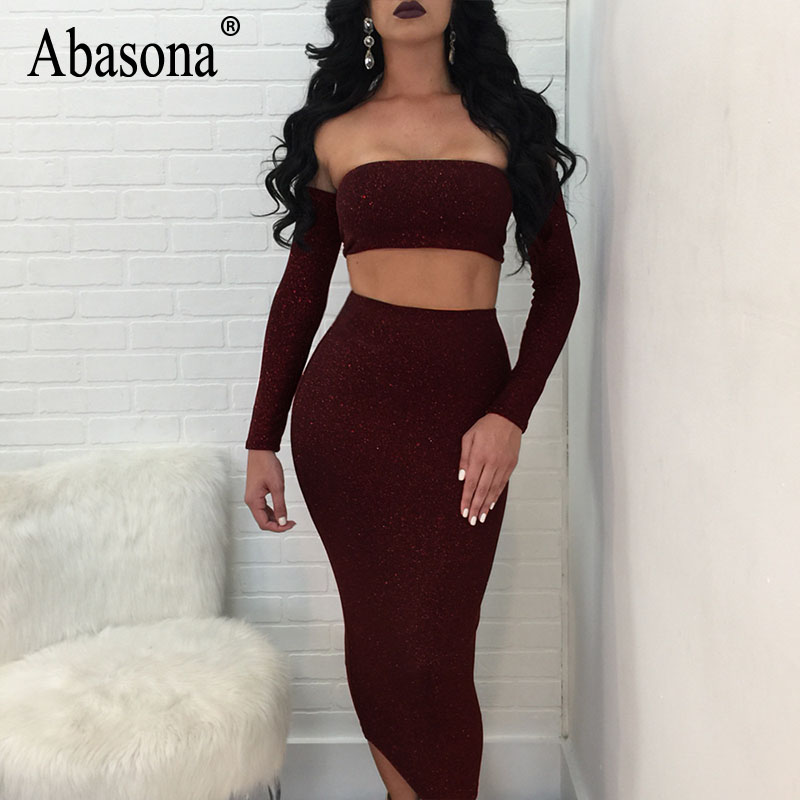 0efeb0a40a2313 Abasona Women Sparkle Dress Sexy Off Shoulder Two Piece Dress Set Backless  Lace Up Bandage Party Women Dresses Robe Femme-in Dresses from Women s  Clothing ...