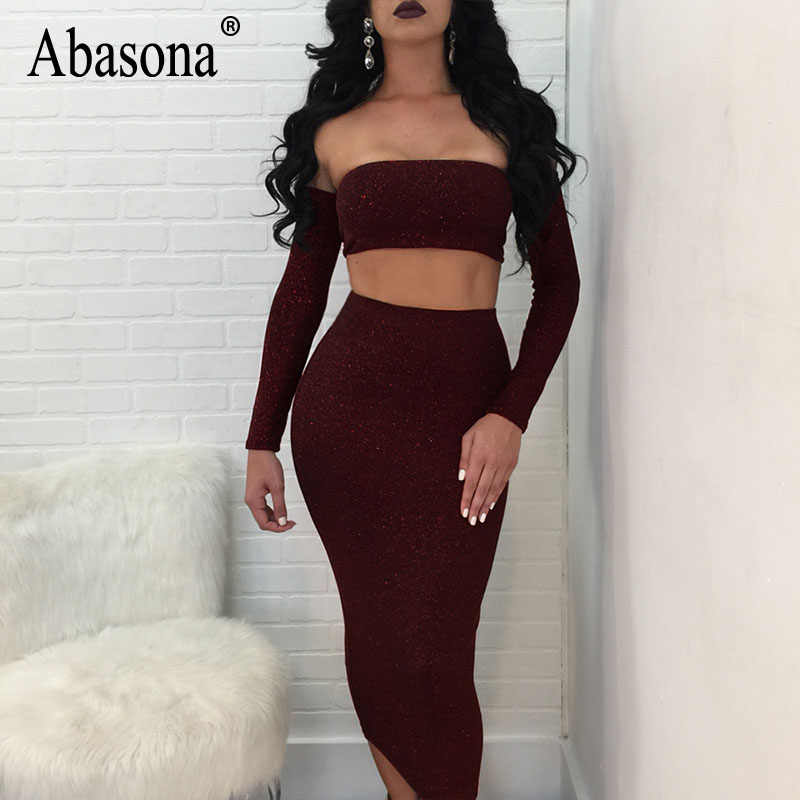 be89fc7d956d ... Abasona Women Sparkle Dress Sexy Off Shoulder Two Piece Dress Set  Backless Lace Up Bandage Party ...