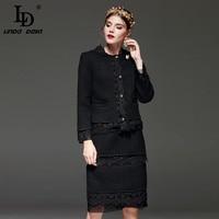 High Quality Winter Suit Set Women Fashion Sets Embroidery Patchwork Vintage Black Office Lady Skirt Set