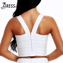Sexy Bandage Women's Summer Crop Top Elastic Spaghetti Strap Tank Top V-Neck Lady's Camis Vest