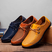 New Arrival Summer Breathable Casual Mesh Shoes Mens Genuine Leather Brand Fashion Flat Loafers