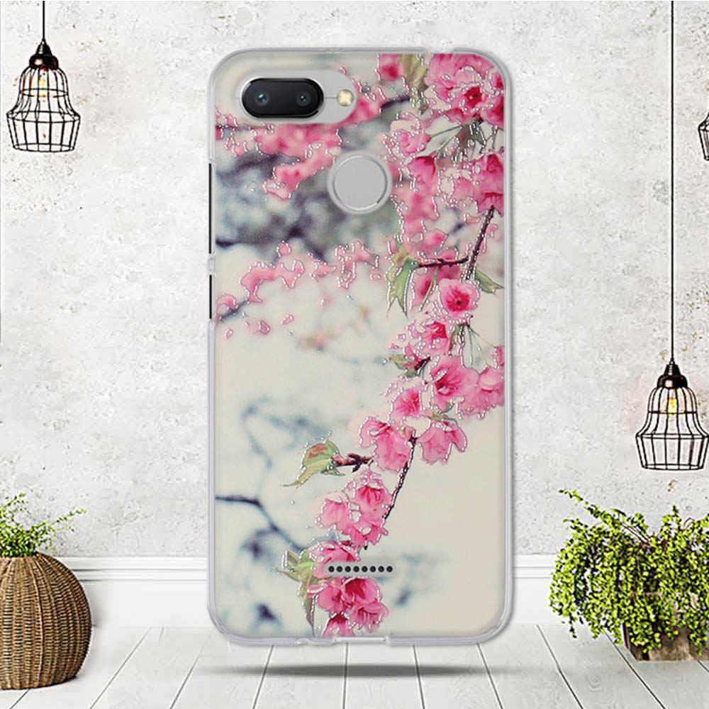 """Caja del teléfono para Xiaomi Redmi 6 caso suave de silicona TPU cubierta para Xiaomi Redmi 6 cubierta funda linda flor patrón Capa 5,45"""""""