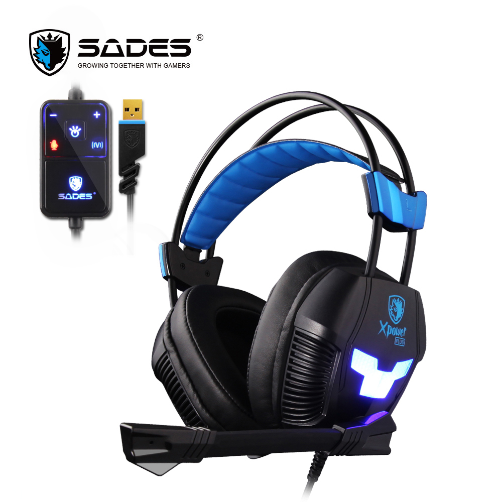 SADES XPOWER PLUS E-sport Headphones Stereo Sound 2-level Vibration Effect Casque Suspension Headband for Headset Gamer