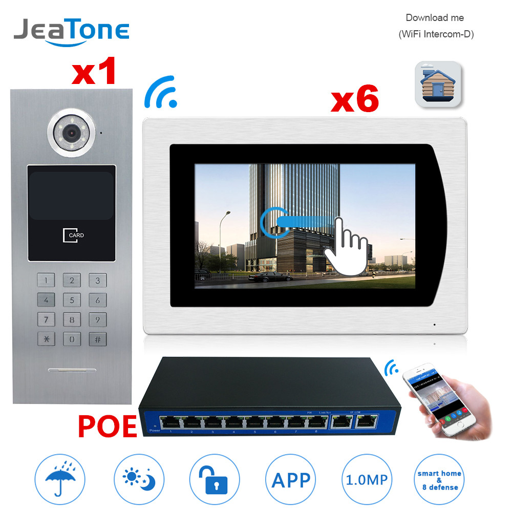7''WIFI Video Door Phone IP Doorbell Intercom Touch Screen For Building Access Control System 1 To 6 POE Password/IC Card/iOS