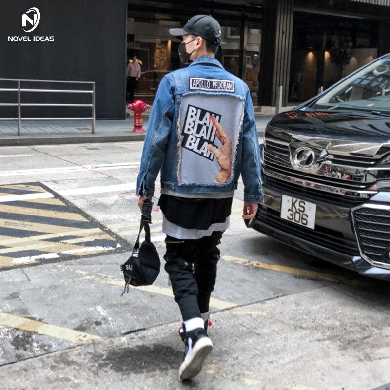 Nouvelles idées 2018 nouvelle automne hiver denim veste hommes mode hip-hop streetwear jeans veste en coton taille américaine