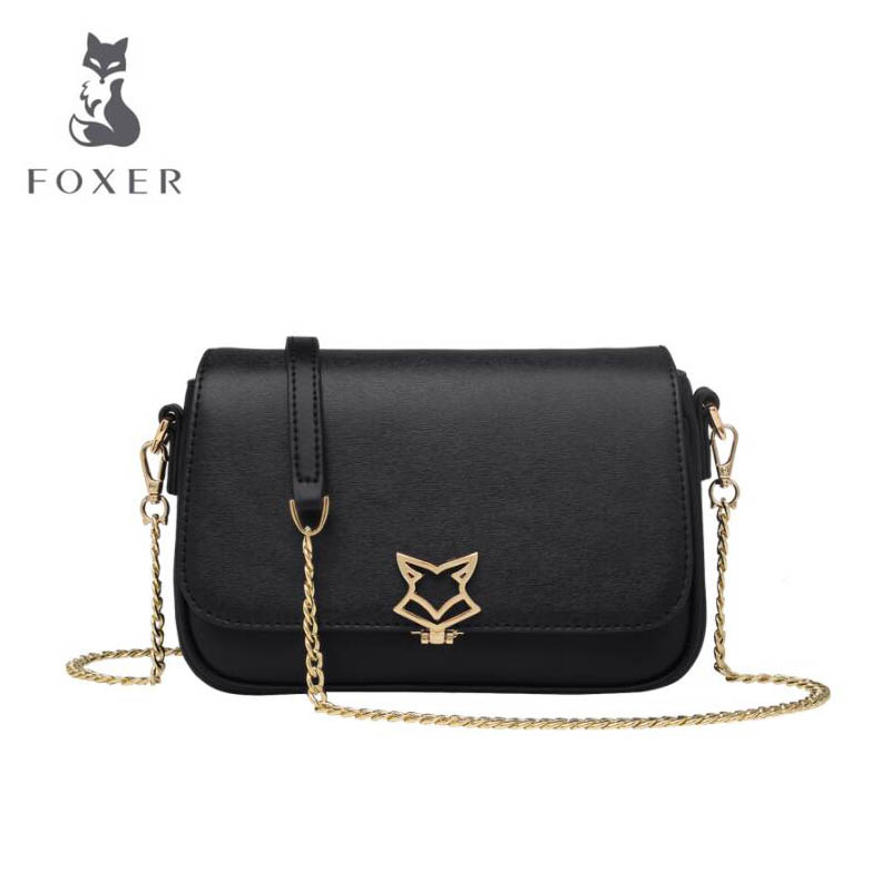FOXER 2018 New women Leather bag designer fashion famous brand Cowhide chains small bag women leather Shoulder Crossbody Bags 2018 new foxer brand women leather bag high quality fashion chains women shoulder messenger bag cowhide black simple small bag
