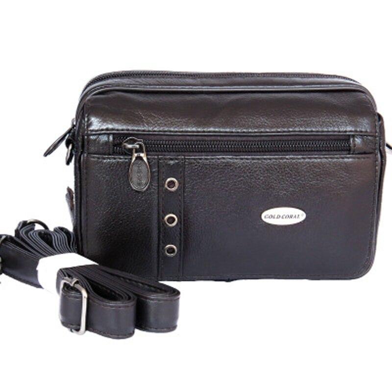 GOLD CORAL Genuine Leather Men Shoulder Bags Fanny Pack Phone Pouch Casual Hip Bum Belt Waist Pack Male Messenger Bag Phone Case