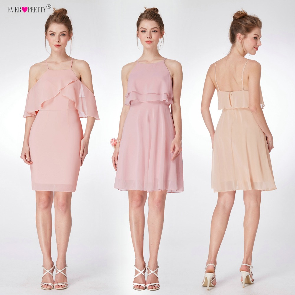 Ever Pretty Short Cocktail Dresses Chiffon Halter Neck Mini Party Gowns EP04051MV A-Line Sleeveless Vestidos Coctel Mujer 2020