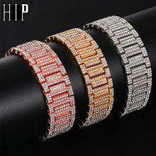 Hip Hop Full Rhinestones Iced Out Bling Gold Silver Watch Band Link Chain Bracelets Bangles for Men Rapper Jewelry