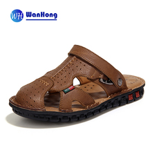 Fashion Men Sandals Full Grain Leather Sandals Outdoor Shoes Casual Men Summer Shoes Soft Bottom Beach Sandals For Man