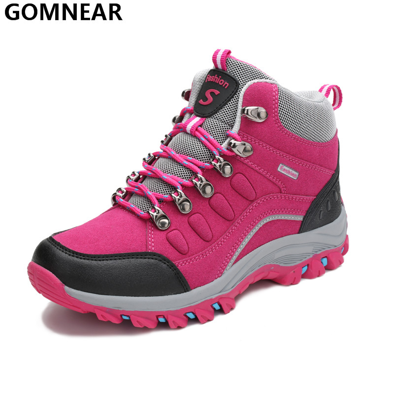 GOMNEAR Women s Hiking Boots Breathable Outdoor Mountain Hiking Athletic Shoes Trekking Hunting Antiskid Sport Shoes