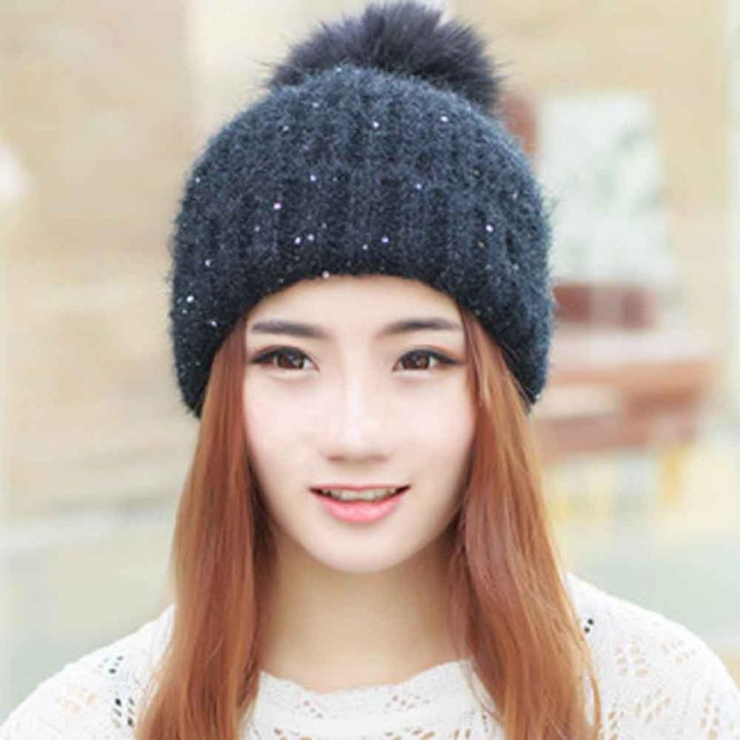 Hat Winter Beanie Knitted Fur Ball Warm Hats Fashion Sequins Fur Pompom Women Hat Gorros E Toucas Feminina#A12 unisex 1d one direction letter hats gorros bonnets winter cap skullies beanie female hihop knitted hat toucas with pompom ball