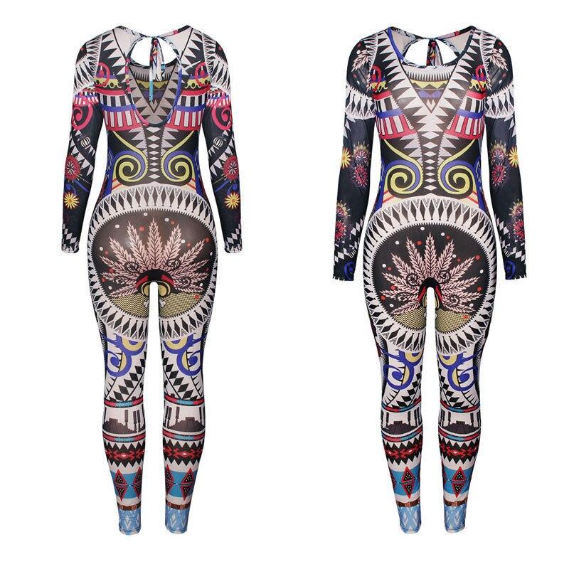 Womens Casual Long Sleeve Bodycon Romper Jumpsuit Geometric Print Folk-custom Clubwear Bodysuit Long Pants