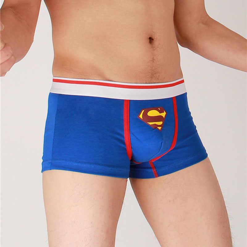 c712f1d0493c 5 colors Cartoon Superman Boxers Low waist Underpants Underwear Men Boxer  Cotton Calzoncillos fashion Cuecas Shorts