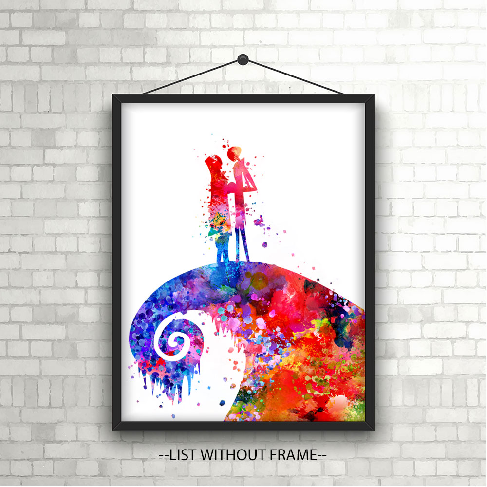 Jack Skellington and Sally The Nightmare Before Christmas Watercolor ...