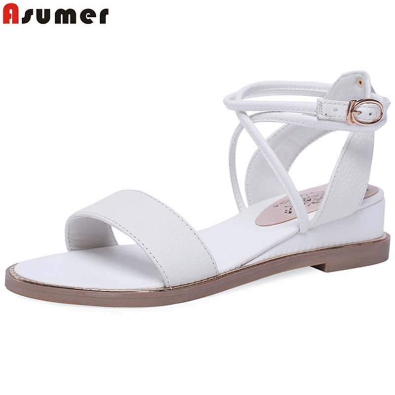 ASUMER big size 34-43 fashion summer new shoes woman buckle sandals women genuine leather shoes women wedges low heels shoes ASUMER big size 34-43 fashion summer new shoes woman buckle sandals women genuine leather shoes women wedges low heels shoes