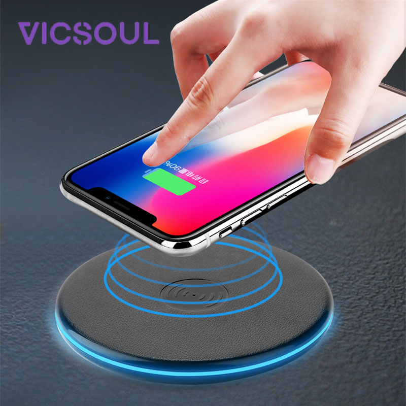 VicSoul Universal QI cargador inalámbrico para iPhone 8/X Samsung Galaxy Note 8 S8 S7 S6 borde escritorio rápido cojín de carga inalámbrico