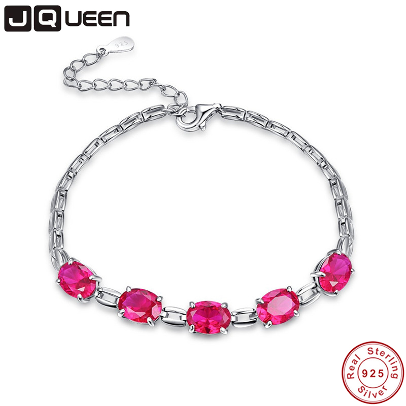 JQUEEN S925 Created Ruby Charm Bracelet for Woman 925 Sterling Silver Gemstone Bracelets & Bangles Classic Wedding Jewelry JQUEEN S925 Created Ruby Charm Bracelet for Woman 925 Sterling Silver Gemstone Bracelets & Bangles Classic Wedding Jewelry