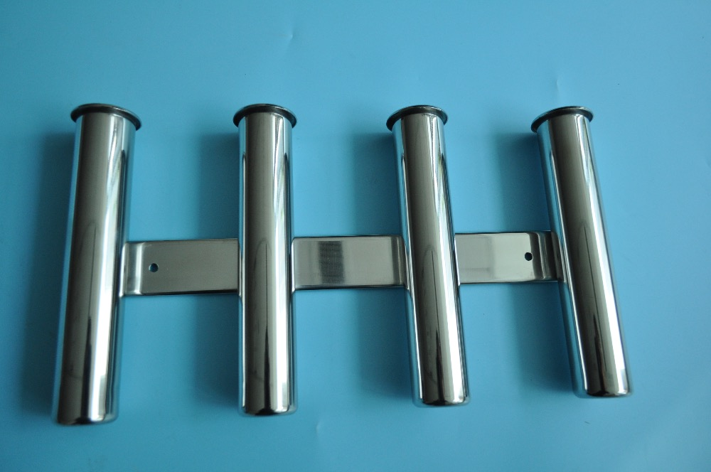 4 tube rod holder triple stainless steel 316 vertical for Wall fishing rod holder