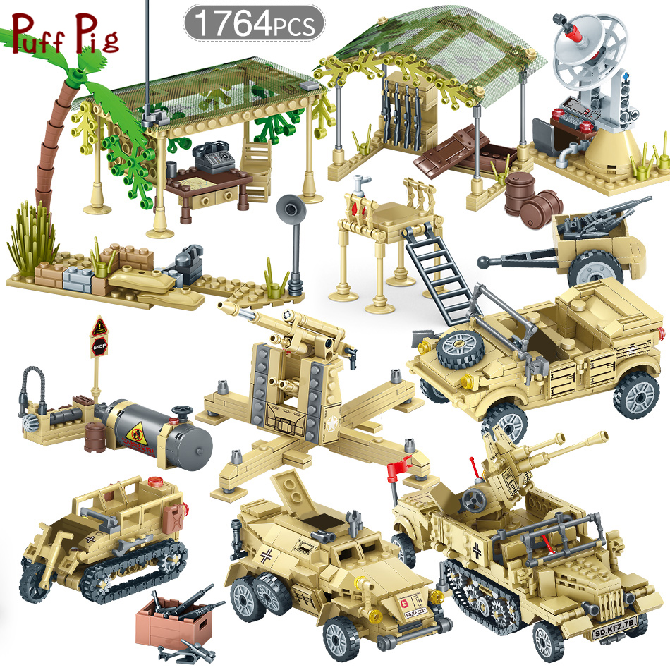 WW2 World War II Soviet Army Soldiers Figures Weapon Vehicles Military Building Block Set City Bricks Toys