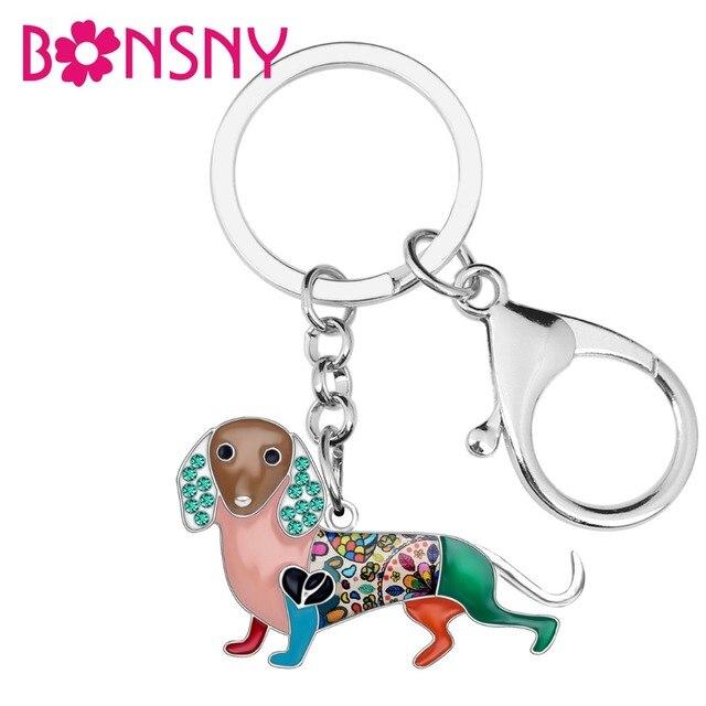 Bonsny Esmalte Liga Strass Dachshund Cão Chaveiros Chaveiros Animal Anel Encantos Da Bolsa de Presente Da Jóia Para As Mulheres Meninas Saco de Carro