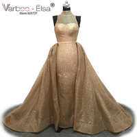 VARBOO ELSA Fashion High Neck Sleeveless Evening Dress Gold Sequined Detachable Train Long Prom Dress 2017