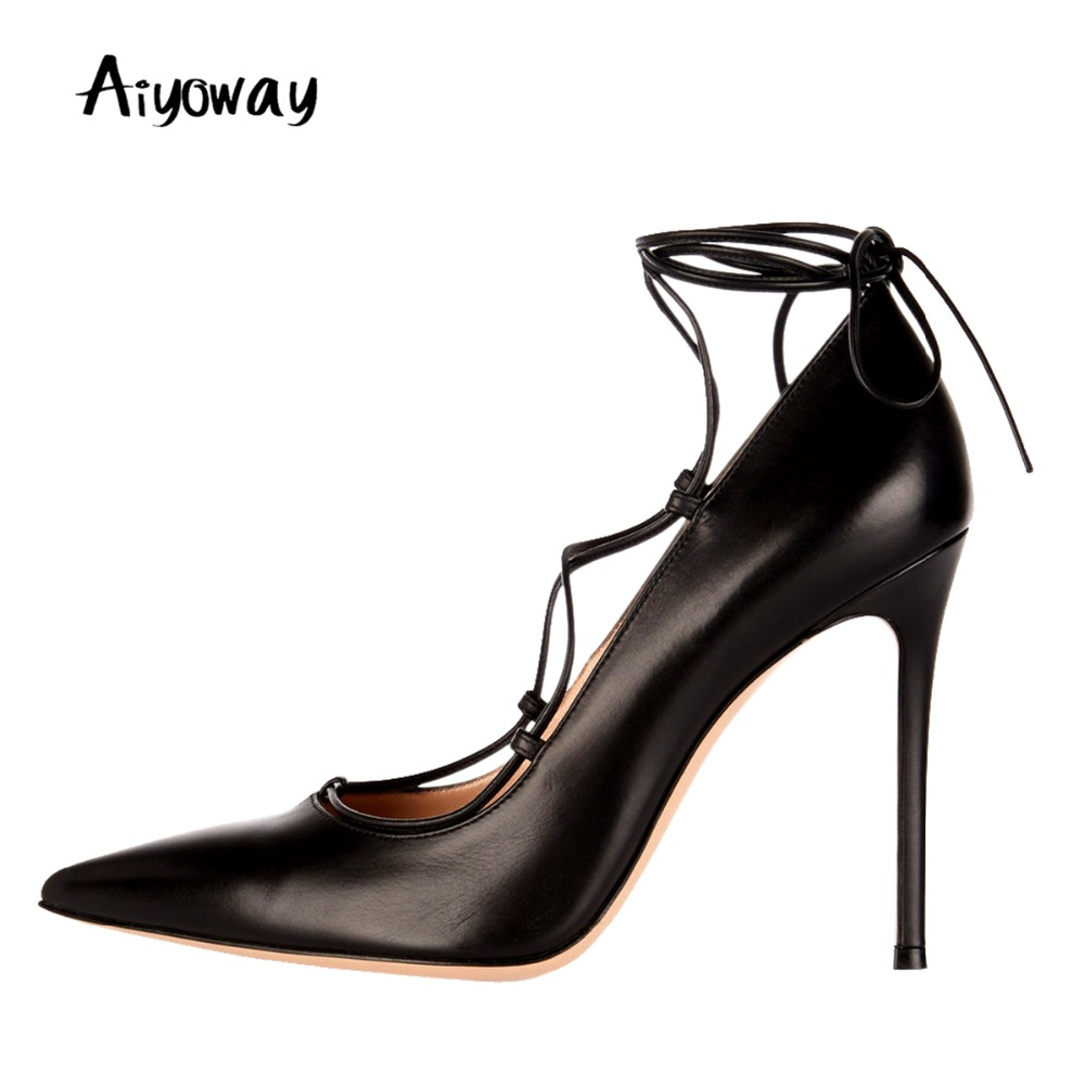 Aiyoway Fashion Women Ladies Pointed Toe High Heel Pumps Lace Up Ankle Strap Black Autumn Spring Party Office Dress Shoes 5~17 black smooth leather women pointed toe ankle buckle pumps deep v back ladies blade heel shoes spring fashion female dress shoes