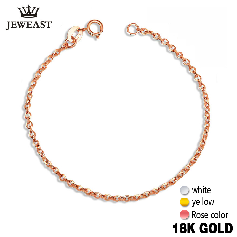 18k Gold Bracelet Women Girls White Yellow Rose Anklet Simple Gift Genuine Real Solid Pure Fine Bagles Party Classic 2017 Hot