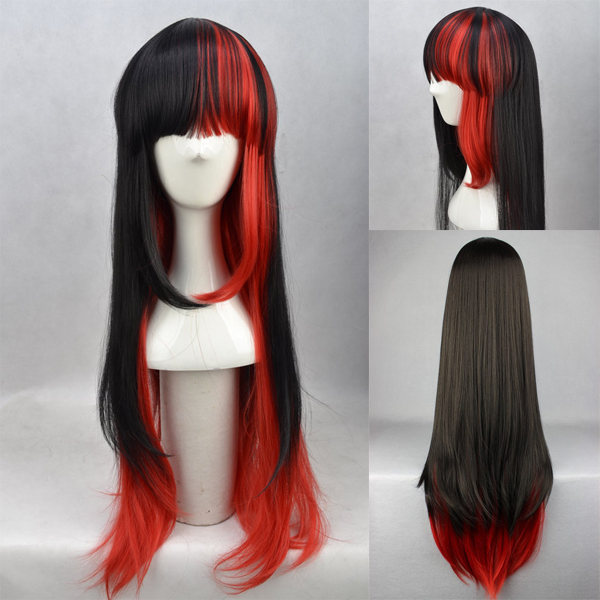 Hot Sell!  lolita Harajuku wind gradient red and black long straight hair Japanese Lolita high temperature wire cosplay wig