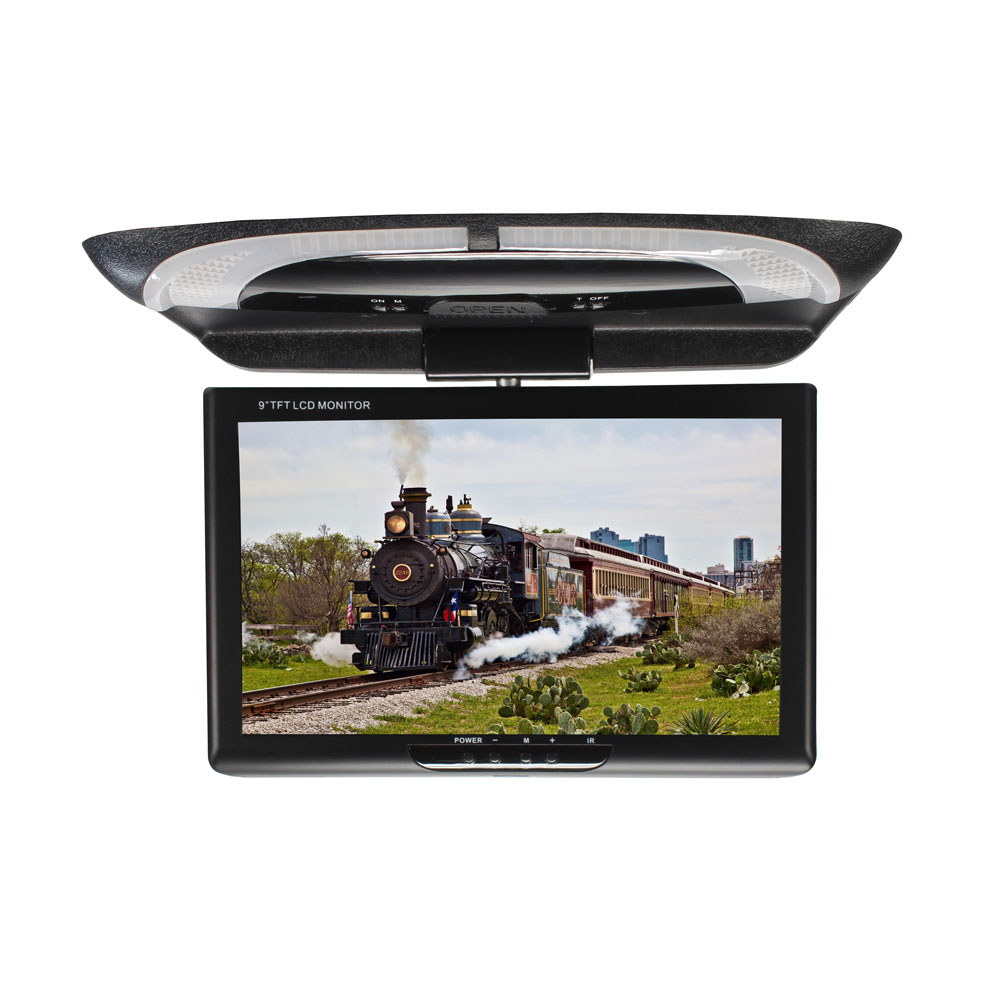 9 Inch Video Roof Mount Car Monitor ABS Display Dome Lights Flip Down Digital Screen DVD LCD Color Multimedia CD Player TFT(China)