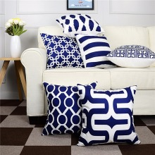Topfinel Geometric Decorative Throw Pillow Cases Cushion Covers Navy Blue For Sofa Seat Chair Microfiber Decorative 45x45 cm